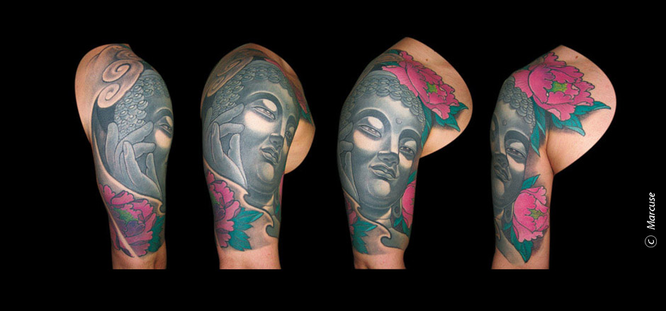 Marcuse | Smilin� Demons Tattoo Studio | tattoo gallery : upper arm tattoo, gray Buddha with colored peonies