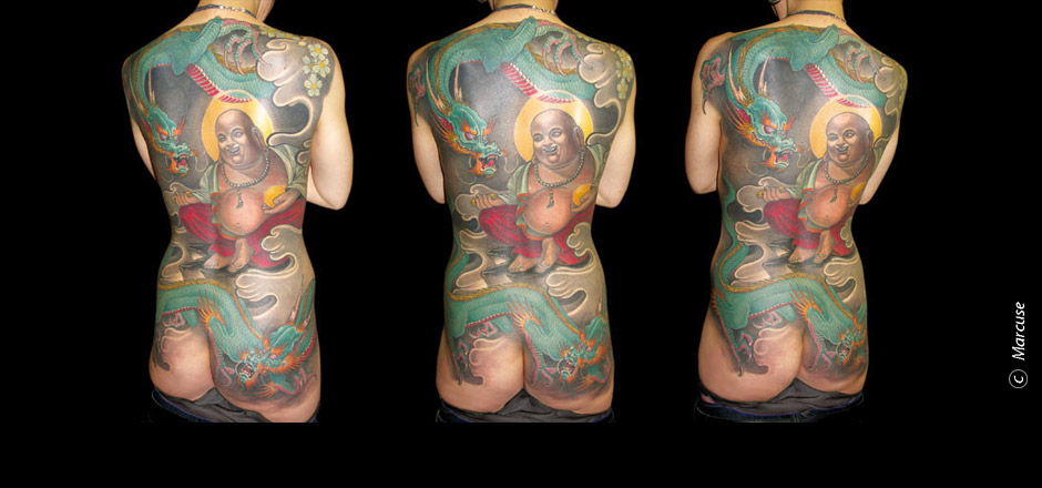 Marcuse | Smilin� Demons Tattoo Studio | tattoo gallery : Back tattoo, a Buddhist monk with dragons and clouds in the background, color