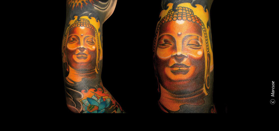 Marcuse | Smilin� Demons Tattoo Studio | tattoo gallery : upper arm tattoo, Golden Buddha with blue lotus and black waves