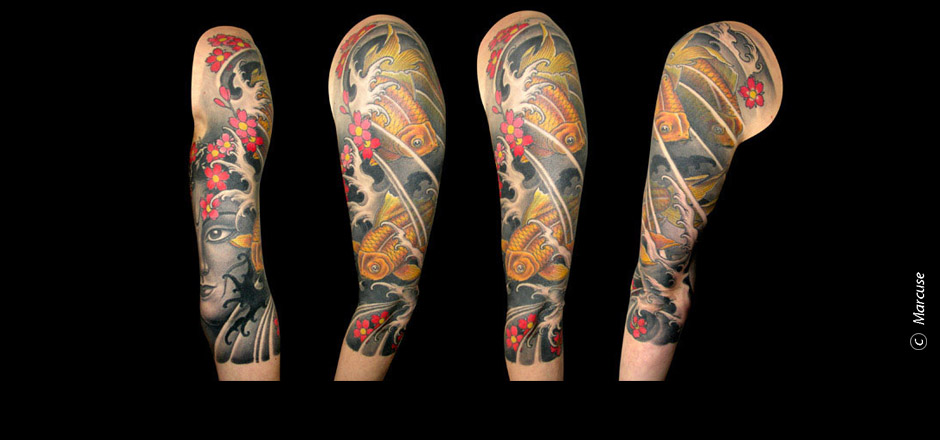 Marcuse | Smilin� Demons Tattoo Studio | tattoo gallery : 3/4 sleeve tattoo, Japanese ornamental fish with Shiva, cherry blossoms and water background, color