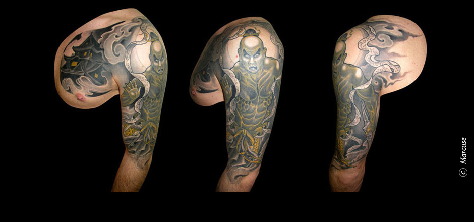 Marcuse | Smilin� Demons Tattoo Studio | tattoo gallery : Temple guard with Temple on front, black / yellow