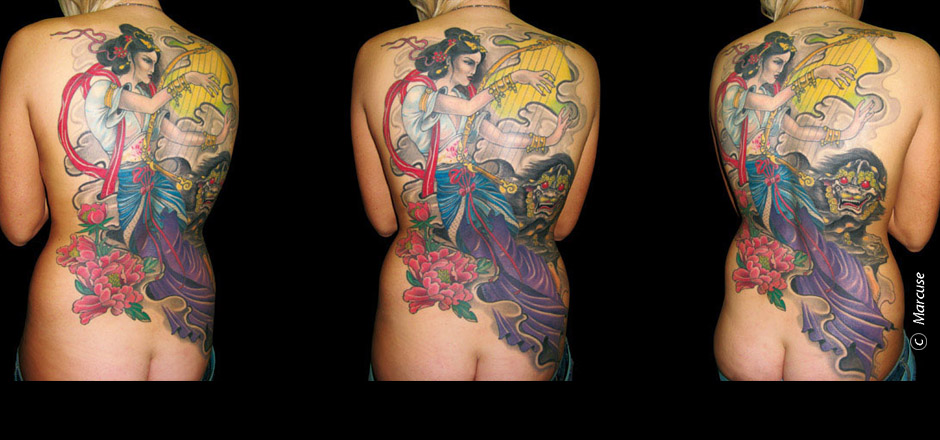 Marcuse | Smilin� Demons Tattoo Studio | tattoo gallery : Colorful, Japanese back tattoo with harp playing Geisha and Temple lions with peony and cloud background