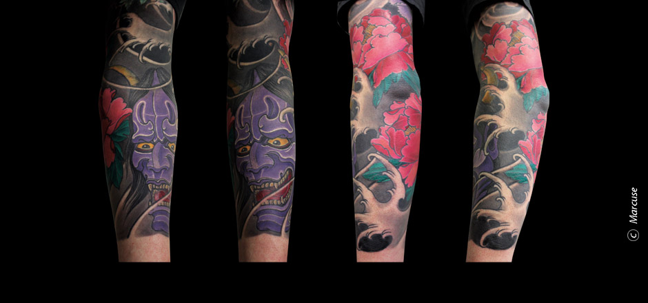 Marcuse | Smilin� Demons Tattoo Studio | tattoo gallery : Lila Hanya Mask on Arm with pink poenies and Waterbackground