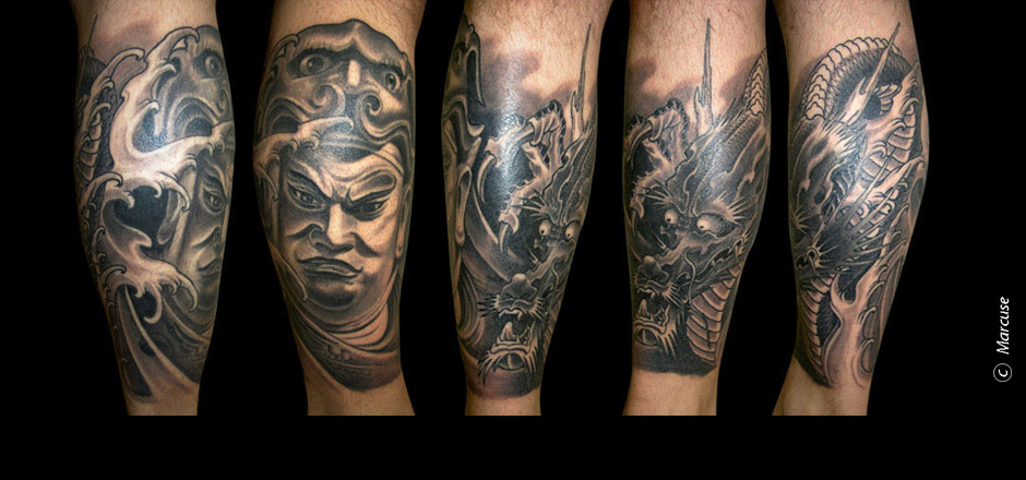 Marcuse | Smilin� Demons Tattoo Studio | tattoo gallery : Chinese god with dragons and Japanese background in black/gray, Calf tattoo