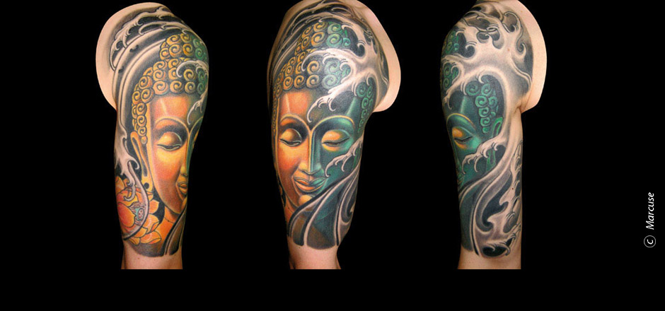 Marcuse | Smilin� Demons Tattoo Studio | tattoo gallery : Gold Green Buddha with Japanese water background, upper arm Tattoo