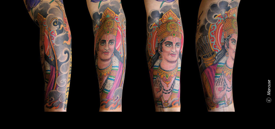 Marcuse | Smilin� Demons Tattoo Studio | tattoo gallery : Hindu god, colored, with clouds on background forearm