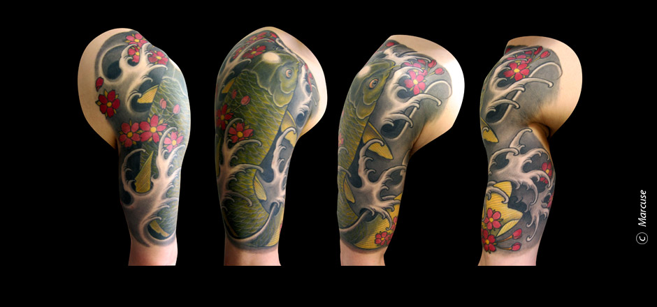 Marcuse | Smilin� Demons Tattoo Studio | tattoo gallery : Colored koi  with black / gray background, cherry blossoms and waves