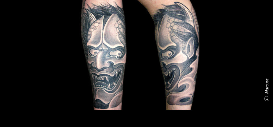 Marcuse | Smilin� Demons Tattoo Studio | tattoo gallery : Japanese demons head in black / gray on forearm