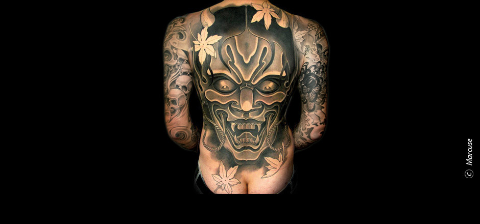 Marcuse | Smilin� Demons Tattoo Studio | tattoo gallery : Japanese Hanya mask with maple leaves on the back, black / gray