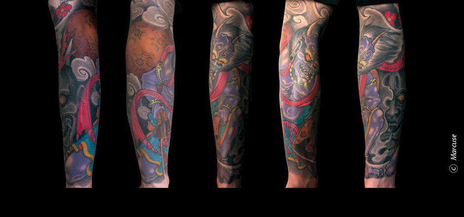 Marcuse | Smilin� Demons Tattoo Studio | tattoo gallery : Japanese clouds god Fujin on forearm, colored in Japanese style