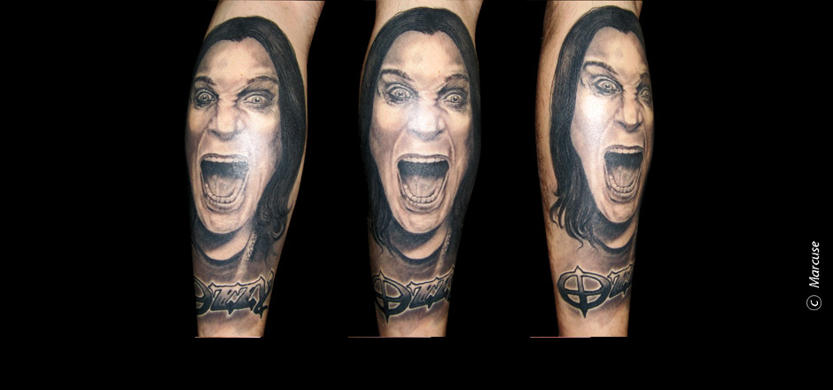 Marcuse | Smilin� Demons Tattoo Studio | Tattoo Galerie : Portrait Wade Ozzy Osbourne in schwarz/grau
